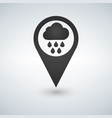map pointer with rain and cloud icon vector image vector image