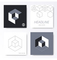 minimalist cube design card cover templates vector image vector image