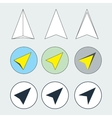 Navigation Arrow Flat Thin Line Icons Set vector image