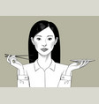 oriental girl with long hair holds chopsticks
