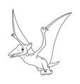 pterodactyl cartoon bw vector image vector image