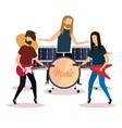 rock band playing instruments vector image vector image