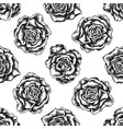 seamless pattern with black and white roses vector image vector image