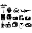 set black travel objects vector image