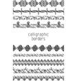 set of calligraphic borders vector image vector image