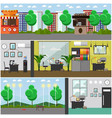 set of detective office interior posters in vector image