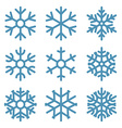 Set of Nine Snowflakes thin line ftat design vector image