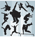 set silhouettes parkour vector image vector image