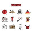 Sewing flat icons set vector image