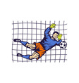 Soccer football goalie keeper saving goal vector image vector image