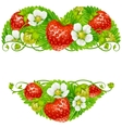 strawberry frame in shape heart vector image vector image