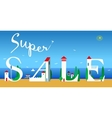 Super Sale Artistic font Summer beach vector image vector image