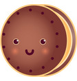 sweet cute round choclate tasty cookie vector image vector image