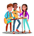 teen rock band playing music on guitar vector image vector image