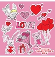 valentines day doodles set vector image