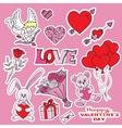 valentines day doodles set vector image