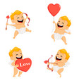 valentines day greeting card with cheerful cupid vector image vector image