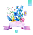 Watercolor summer flowers vector image vector image
