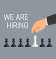 we are hiring employees concept human hand vector image
