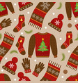 winter apparel seamless pattern christmas clothes vector image