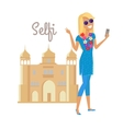 Woman Selfie on Summer Vacation in India vector image vector image
