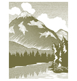 Woodcut Wilderness Lake vector image vector image