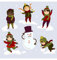 kids playing outdoors with snowballs and snowman vector image