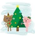 Christmas cat cartoon vector image