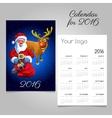 2016 holiday calendar with Santa and fun reindeer vector image