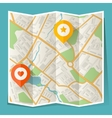 Abstract city folded map with location markers vector image vector image