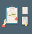 agenda list business paper clipboard vector image