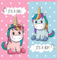 baby shower greeting card with cute unicorns vector image