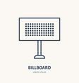 billboard flat line icon outdoor advertising sign vector image vector image