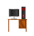 black and red design pc computer and lcd on the vector image vector image