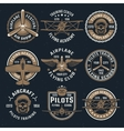 Brown Airplane Emblem Set vector image vector image