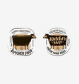 butcher shop butcher logo cow beef label vector image vector image