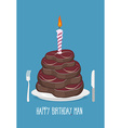 Cake cuts of meat Happy birthday man Delicious vector image vector image