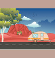 camping trailer on desert road vector image