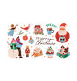 celebratory christmas set with decorations vector image