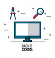 color poster of back to school with computer in vector image vector image
