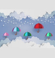 colorful umbrella in the air with rainning vector image vector image
