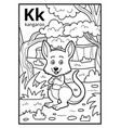 coloring book colorless alphabet letter k kangaroo vector image vector image