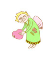 cupid with heart in hand card for st valentine day vector image vector image