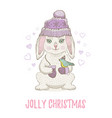 cute christmas rabbit with bird winter animal vector image vector image