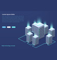 data center concept cloud storage data transfer vector image vector image