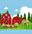 farm scene with pigs in mud vector image