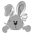 funny bunny drawing on white background vector image vector image