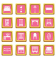 furniture icons pink vector image vector image