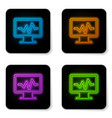 glowing neon computer monitor with cardiogram vector image vector image