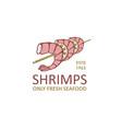 grilled shrimps label vector image